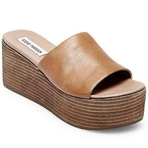 Steve Madden Heated Cognac Leather Wedge Sandals